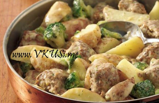 Кюфтенца с картофи и броколи
