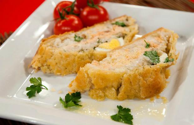 Сьомга с ориз в тесто