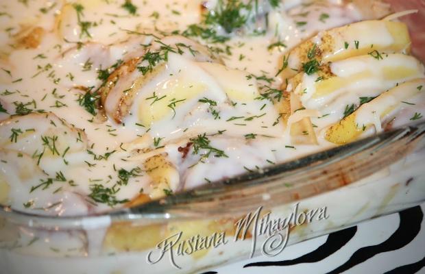 Кюфтенца с картофи и гъби под шуба