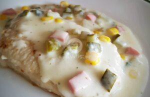 Свинско филе в млечен сос с топено сирене и кисели краставички