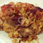 Свински късчета с праз и ориз на фурна