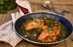 Пилешко със спанак и сос от бяло вино