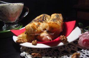 Пурички със зеленчуци и млечно-орехов сос