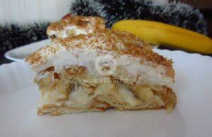 """Торта """"Бананов сплит"""" с карамелизиран кокос и крем Шантили"""