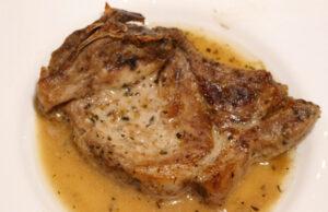 Свински котлет с горчица и бяло вино
