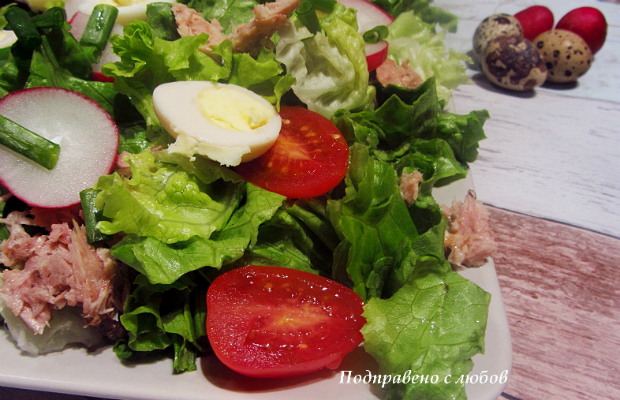Зелена салата с риба тон и репички
