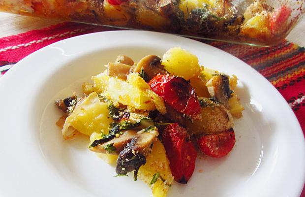 Картофи на фурна с гъби и хрупкава поръска