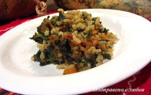 Коприва с ориз и гъби на фурна