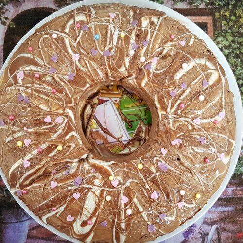 Кекс с портокалови кори и течен шоколад
