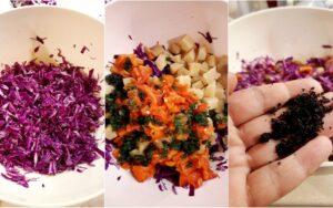 Картофена салата с червено зеле и печени чушки